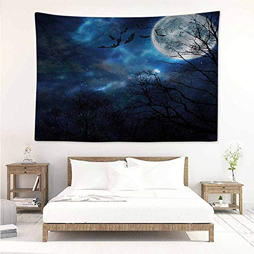 Sunnyhome Big Tapestry,Halloween Bats Flying in Night Sky,Home Decorations for Bedroom Dorm Decor,W23x19L ()