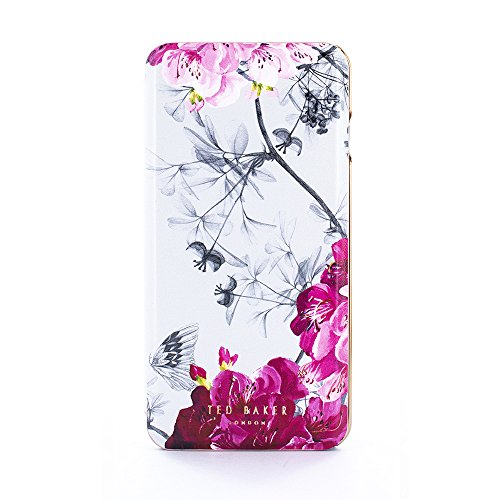 Ted Baker AW18 Fashion Mirror Folio Case for Apple iPhone 8 Plus / 7 Plus, Protective Cover for Professional Women/Girls - SASS - Silver