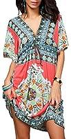 Fanhong Womens Floral Chiffon Wrap Beach Dress Bikini Swimwear Cover-up