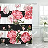 Pink and White Striped Shower Curtain Emvency Shower Curtain Colorful Abstract Peony and Roses Black White Stripes Flowered Shower Curtains Sets with Hooks 72 x 78 Inches Waterproof Polyester Fabric