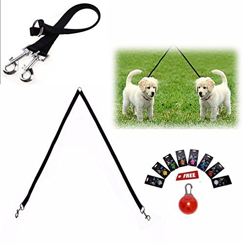 Double Leash For Dogs - Dual Dog Leash Splitter Handles Two Dogs & Leads to Walk with Multiple Pets No Tangle- Heavy Duty Nylon with Metal Hardware for Small & Medium Dogs Gifts Led Clip