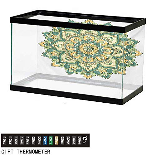 wwwhsl Aquarium Background,Mandala,Asian Style Ethnic Dahlia Petals Eastern Illustration Print,Jade Hunter Fern Green Apricot Fish Tank Backdrop 30