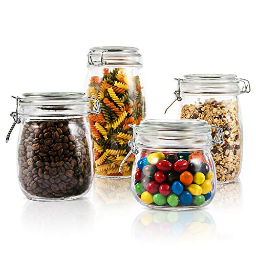 Mastertop Household 4 Pieces/Set Airtight Glass Jar with Lid Waterproof and Impermeable Storage Jars 1.5L 1L Multi-Purpose Food Container by Mastertop