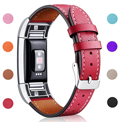 (Hotodeal Band Compatible Fitbit Charge 2 Replacement Bands, Classic Genuine Leather Wristband Metal Connectors, Fitness Strap Women Men Small Large Red)