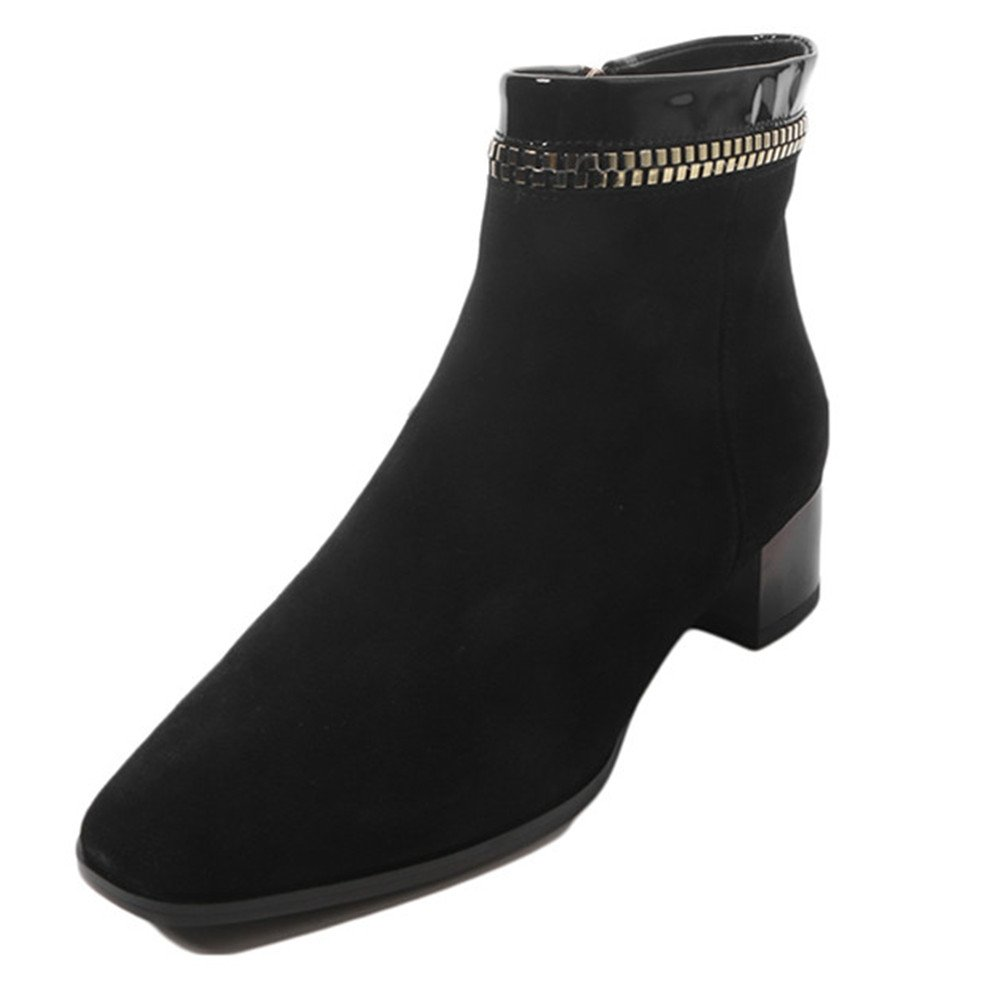 Nine Seven Suede Leather Women's Square Toe Chunky Heel Zipper Handmade Fashionable Charming Ankle Boots (8, Black)