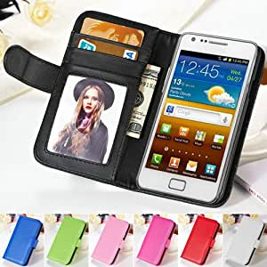 New Fashion Wallet Stand PU Leather Case For Samsung Galaxy S2 SII i9100 Soft Phone Bag Cover With Card Holder + Photo Frame BOB --- Color:Blue