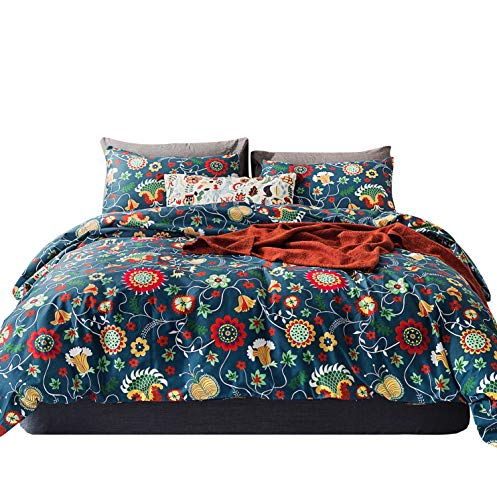 - YuHeGuoJi 3 Pieces Duvet Cover Set 100% Cotton King Size Colorful Sunflower Bedding Set 1 Cactus Print Duvet Cover with Zipper Ties 2 Pillowcases Luxury Quality Soft Breathable Lightweight Durable