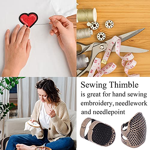 J.CARP 4Pcs Sewing Thimble, Metal Copper Sewing Thimble Finger Protector, Adjustable Finger Shield Ring Fingertip Thimble Sewing Quilting Craft, Accessories DIY Sewing Tools (2 Sizes, S/M)