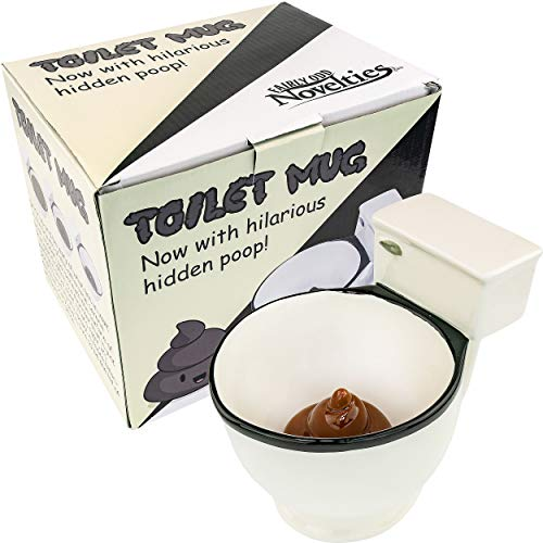 (Fairly Odd Novelties FON-10236 Ceramic Toilet Coffee Mug - Now With Hidden Poop 11-Ounces,)