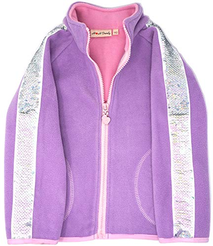 Glitter Flip Sequin Girl's T-Shirt Top Short/Long Sleeve, Fleece Jacket 3-12 Years (4, Stripe Purple ()