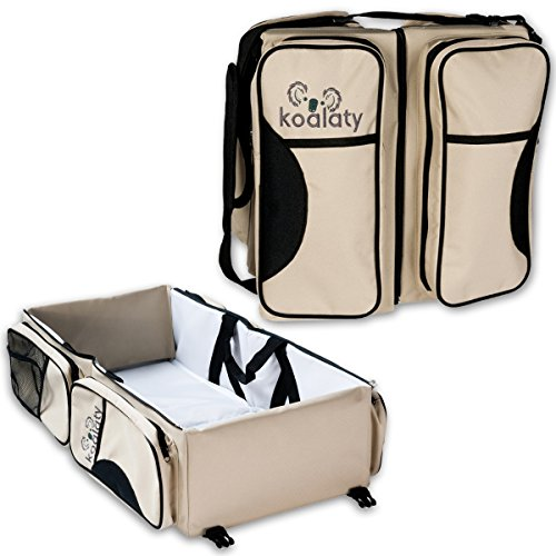 Koalaty 3-in-1 Universal Infant Travel Tote: Portable Bassinet Crib, Changing Station, and Diaper Bag for Newborns or Baby and Disposable Bag (Travel Cot Bassinet)