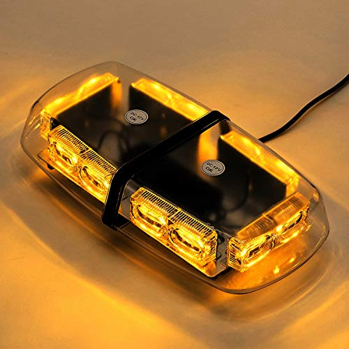 LED Amber Yellow Strobe Light, High Intensity Law Enforcement Emergency Hazard Warning, 36 Watts, LED Mini Bar Flashing Light with Strong Magnetic Base (16-Modes)
