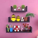 Onlineshoppee Wooden Handicraft Wall Decor Designer Wall Shelf Pack of 3 Color-Black