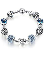 Pulsera Morsun con cuentas en forma de corazón, azul, joyería de moda, regalo para mujeres o niñas