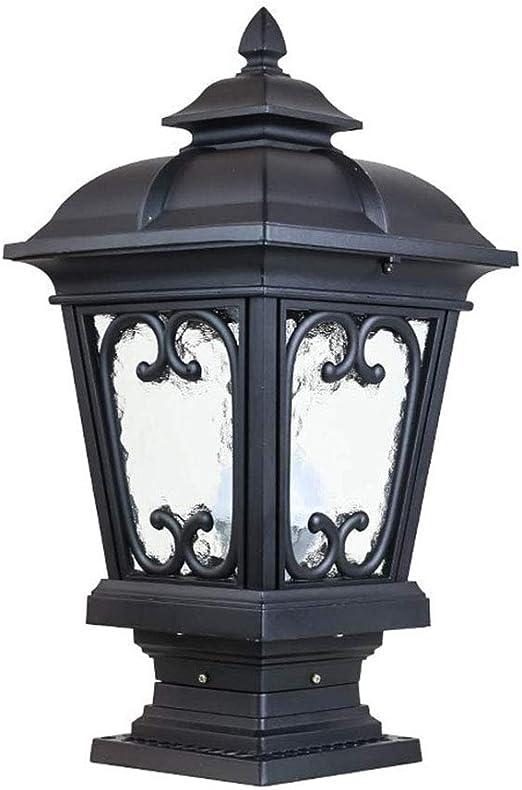 LED-BEAU Columna lámpara jardín Paisaje al Aire Libre Columna Impermeable de Cristal Linterna Forma Polo luz Lluvia césped,Negro,23x45cm: Amazon.es: Hogar