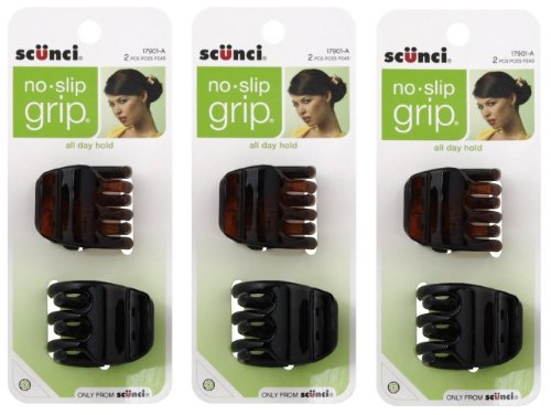 Scunci No-Slip Grip Jaw Clips, 3.5cm, 6 Count by Scunci