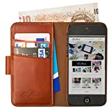 Manhattan Real Leather Full Wallet Case, iPhone 5C with Card Holder & Note Pocket in Earth Brown