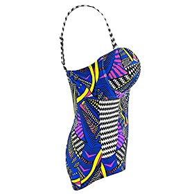 - 513oOSjKYuL - American Trends Womens Printed One Piece Plus Size Swimsuits Bathing Suits Bandeau Swimwear