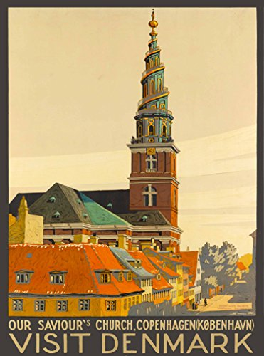 A SLICE IN TIME Visit Copenhagen Denmark Scandinavia Our Saviour's Church Vintage Danish Travel Advertisement Art Poster Print Measures 10 x 13.5 inches.