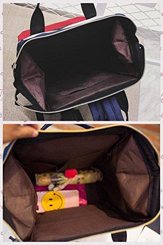 Campus-beiläufiger Rucksack, im Freien wasserdichter Oxford-spinnender wandernder Spielraum-Rucksack-Trend-ultra heller Reitarbeits-Rucksack-Mode-Unisexschultasche, schwarz, blau, rot, weiß D