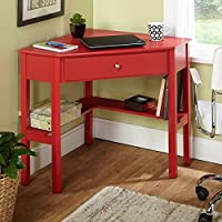 Sturdy Simple Living Ellen Red Corner Desk with its Unique, Open Corner Design, is Great for Maximizing Space in any Room