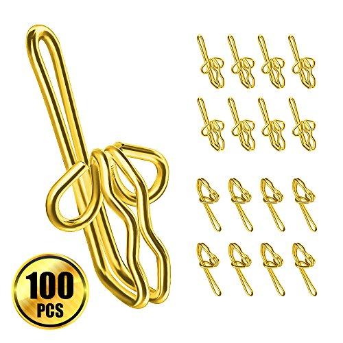 Bulk Hardware BH03671 EB Curtain Header Tape Drapery Hook Brass Plated Metal Pack of 50
