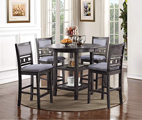 New Classic Furniture D1701-52S-GRY Gia Counter Dining Set, Gray (Table Kitchen Height Counter Sets)