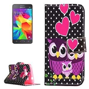 Owl Family Pattern Horizontal Leather Case Funda Flip Cover con Holder & & Wallet bolsillos internos para Samsung Galaxy Grand Prime G360 /