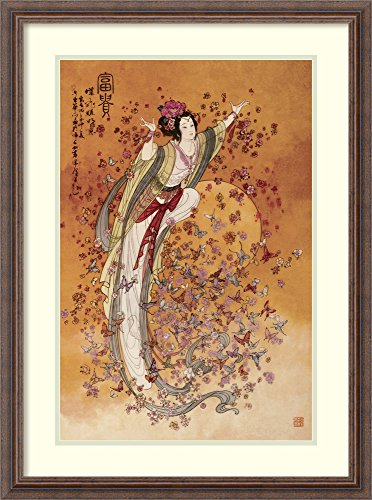 Framed Wall Art Print | Home Wall Decor Art Prints | Goddess of Wealth by Chinese | Rustic Decor ()