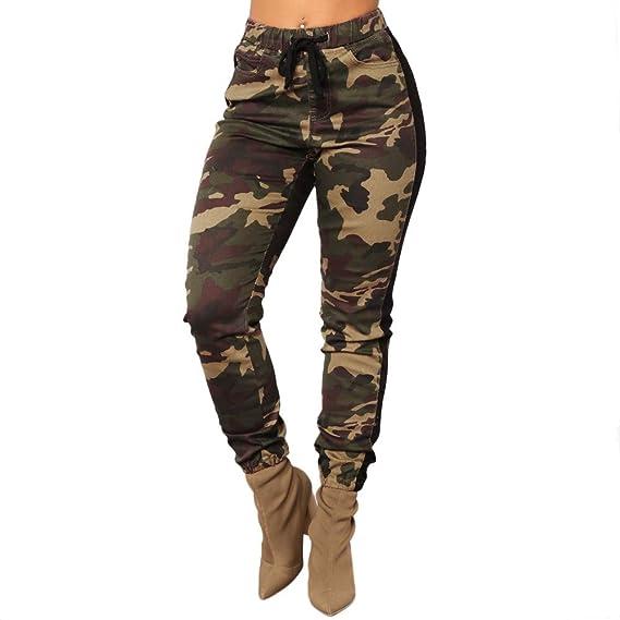Genieße am niedrigsten Preis großer Rabatt doppelter gutschein YunYoud Camo Hose Freizeithosen Elastische Taille Camouflage ...