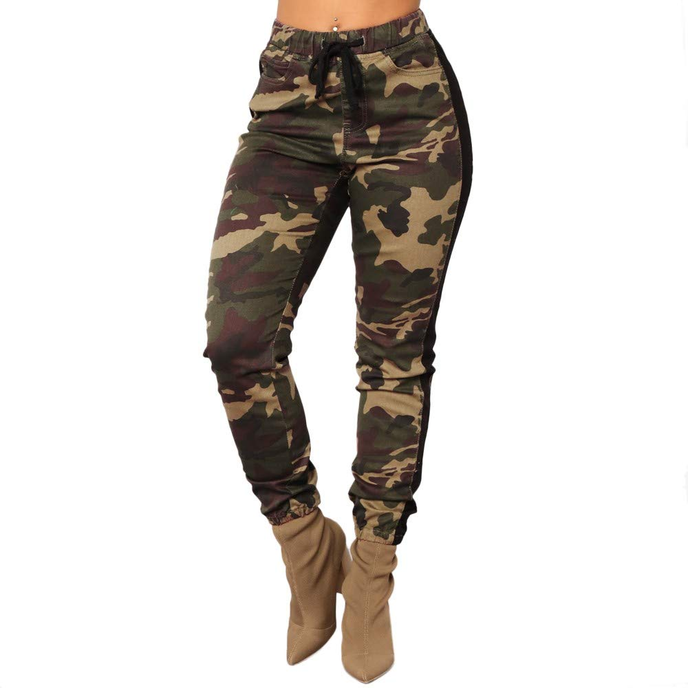 Ankola Womens Camouflage Pants Women's Classic Soft Comfy Drawstring Jogger Pants (XL, Army Green)