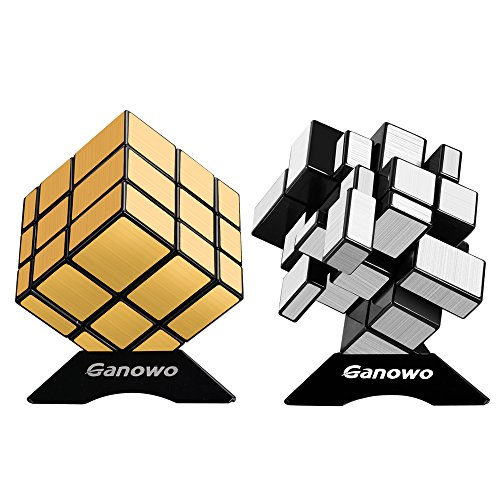 (Ganowo Mirror Speed Cube Puzzle 3x3x3 Gold and Silver Mirror Magic Cube Set 2 Pack for Kids)