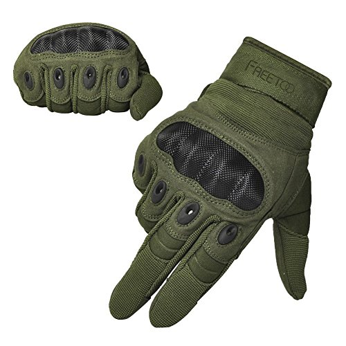 FREETOO Tactical Gloves Military Rubber Hard Knuckle Outdoor Gloves (Army Green Full Finger, L:9