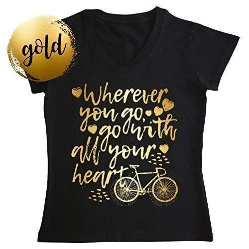 Bicicleta y frase Dorado Camiseta Negra Mujer