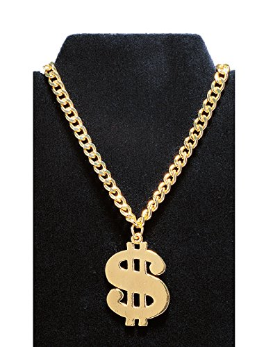 Gold Costumes Necklace (Costume Culture Men's Gold 1.5 Inch Dollar Sign Necklace, Gold, One Size)
