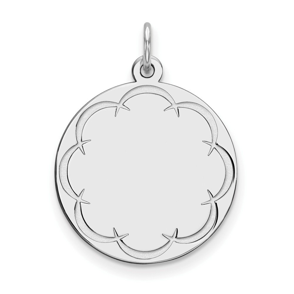 Round Engravable Disc Pendant Custom Name Plate Charm Satin /& Polished Sterling Silver