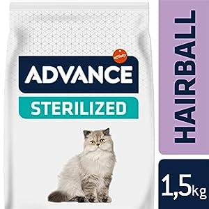 Advance Sterilized Hairball, comida para gatos esterilizados, para eliminar las bolas de pelo, 1.5Kg