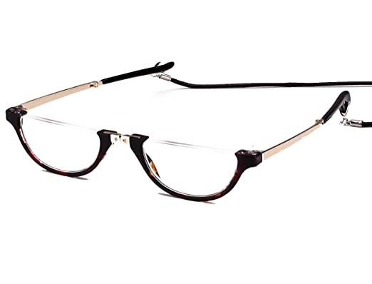 b4fa2c38c1f Amazon.com  Agstum Mens Womens Half Moon Foldable Reading Glasses with Case  (Tortoise shell