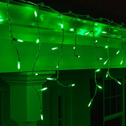M5 Green LED Icicle Lights 7.5' White Wire - Outdoor Christmas Lights, Outdoor Christmas Decorations, Outdoor Holiday Icicle Lights. Holiday String Lights Green Icicle Lights