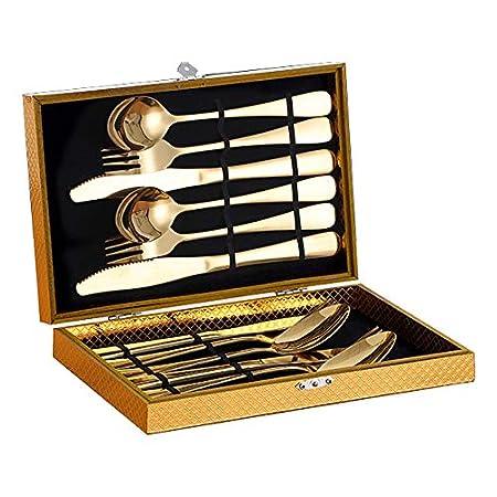 LiZhaiMing Cuchillo De Oro Y Tenedor Conjunto De Cubertería ...