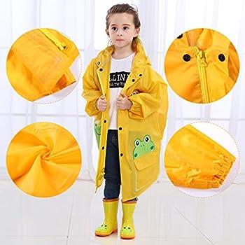 LINENLUX Waterproof Hooded Raincoat Jacket Coat for Kids with Pockets