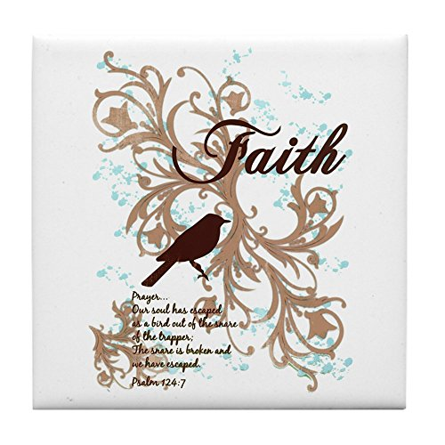 Tile Coaster (Set 4) Faith Prayer Dove Christian Cross - Chocolate Coaster