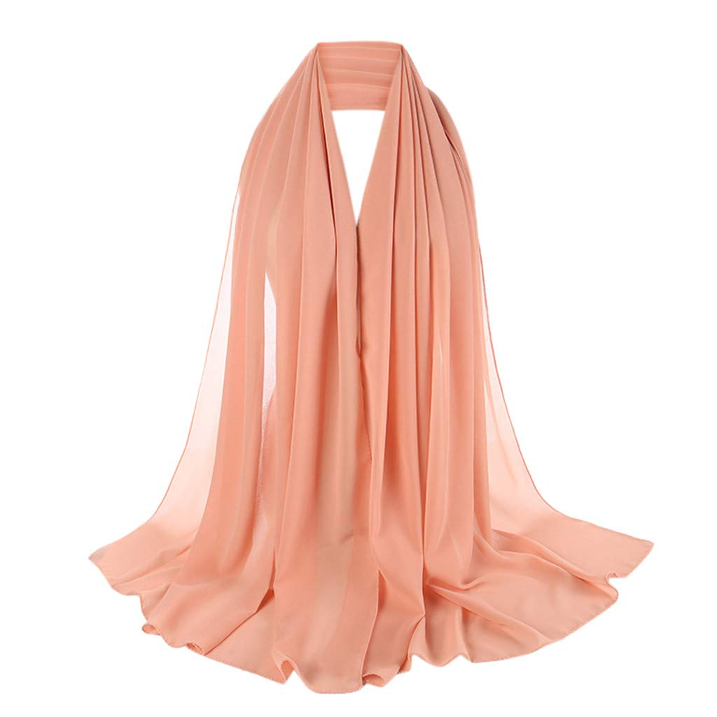 Coco-Z 2019 comf Scarfs Solid Color Head Scarf Pearl Hijab Lightweight Fashion Hair Scarf Pink