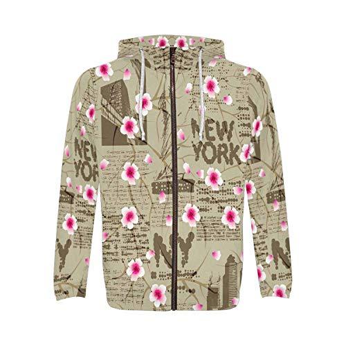 INTERESTPRINT New York Cherry Blossom Men's Full-Zip Zipper Hoodies Sweatshirt S ()