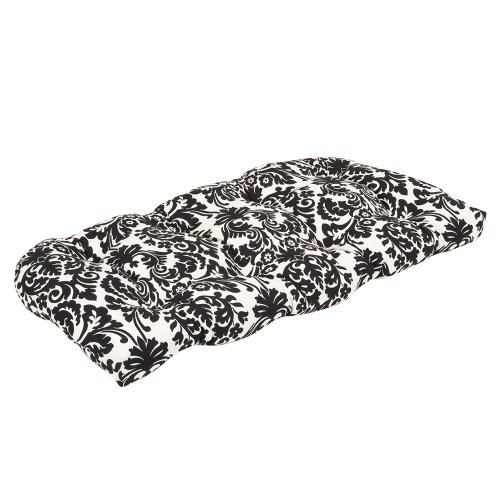 Pillow Perfect Indoor/Outdoor Black/Beige Damask Wicker Loveseat Cushion (Outdoor Custom Cushions Furniture For)