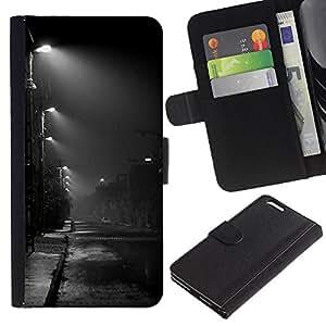 EJOY---La carpeta del tirón la caja de cuero de alta calidad de la PU Caso protector / Apple Iphone 6 PLUS 5.5 / --Noche Road Ciudad Lluvia Otoño Otoño