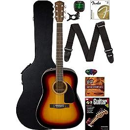 Fender CD-60 Dreadnought Acoustic Guitar – Sunburst Bundle with Hard Case, Strap, Tuner, Strings, Picks, Instructional…