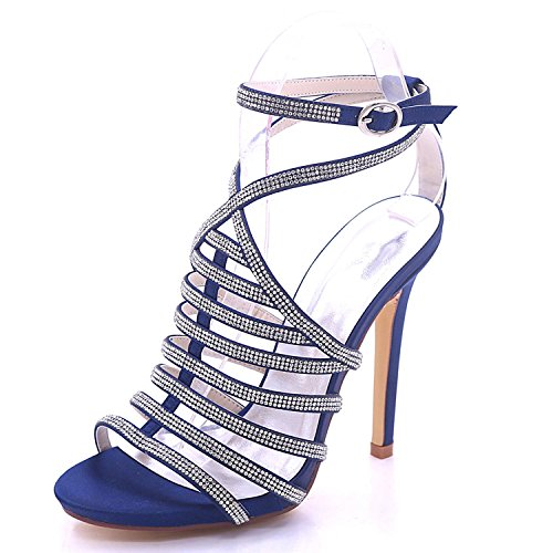 Mujeres Boda De Summer 04a Heel Dama Las Party yc L 7216 Sandalias Rhinestones Peep High Blue Honor q718tx