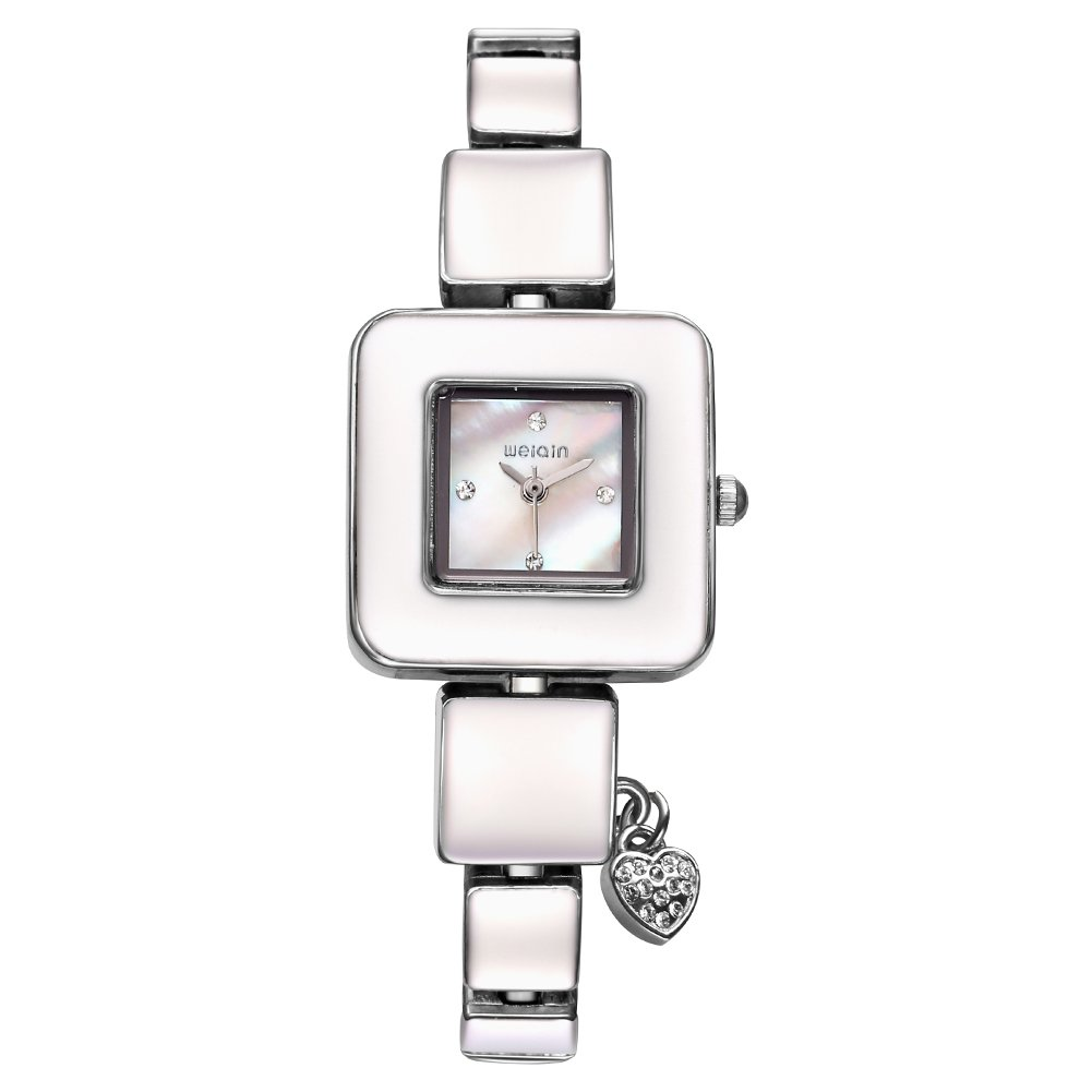 AStarsport Women Ladies Classical Casual Cute Square case Shell Dial with Rhinestone Love Pendant Women's Dress Watches Fashion Wrist Watch Rose Gold Silver by Astarsport (Image #2)