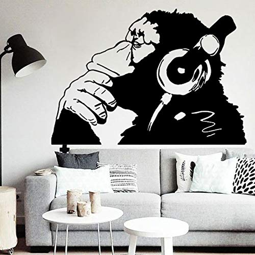 51x36cm,Wall Stickers for Bathroom,Wall Tattoo Art, Monkey with Headphones One Color Chimp -